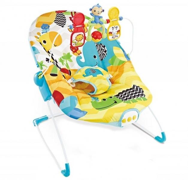Lehátko, hojdačka pre dojčatá s vibrácií a hudbou - Safari žluté