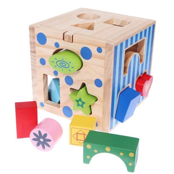 Drevená edukačná kocka, vkladačka ECO TOYS