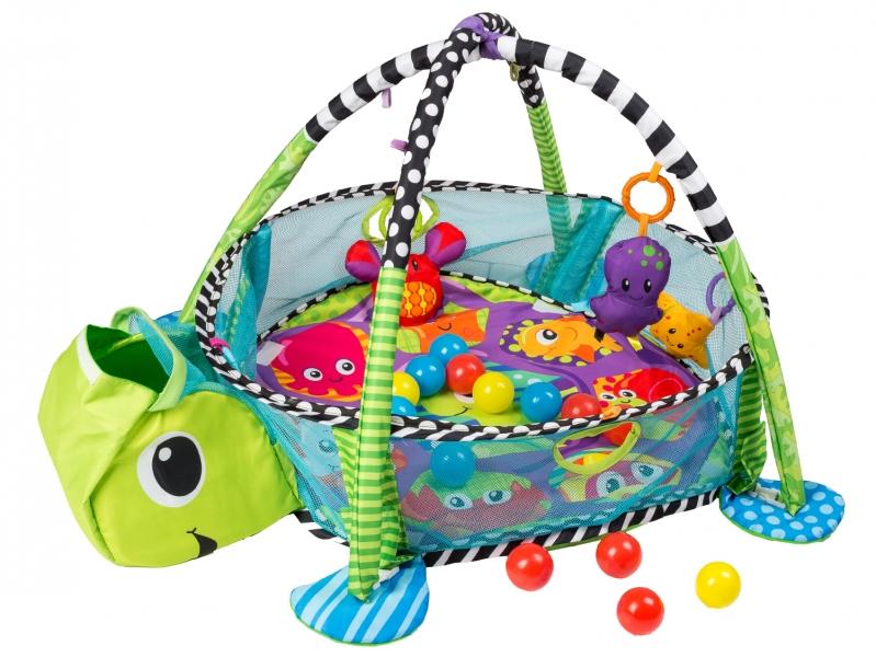 Vzdelávaciá hracia deka s 30 loptičkami ECO TOYS - Želvička
