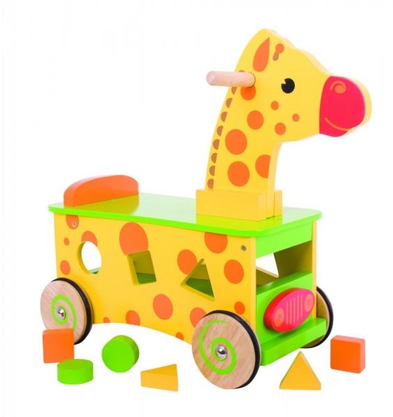 BIGJIGS Edukačné drevené odrážadlo - Žirafa