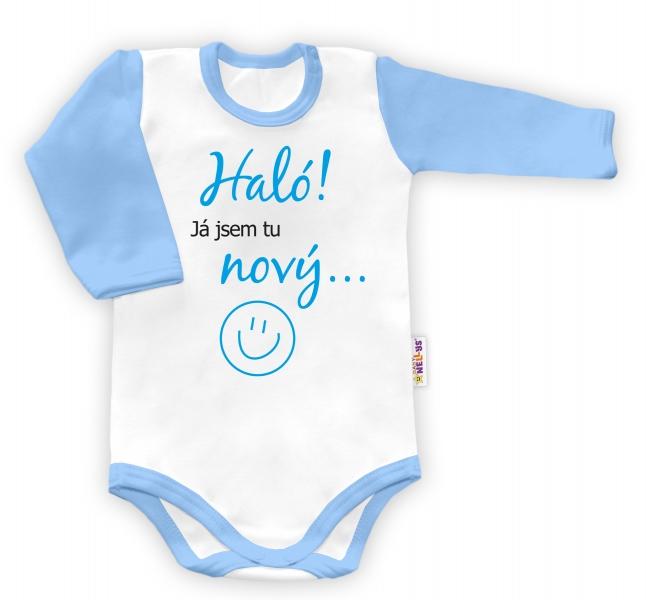 Baby Nellys Body dlouhý rukáv vel. 68, Haló! Já jsem tu nový.. - kluk-68 (4-6m)