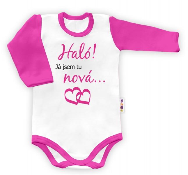 Baby Nellys Body dlouhý rukáv vel. 56, Haló! Já jsem tu nová.. - holka