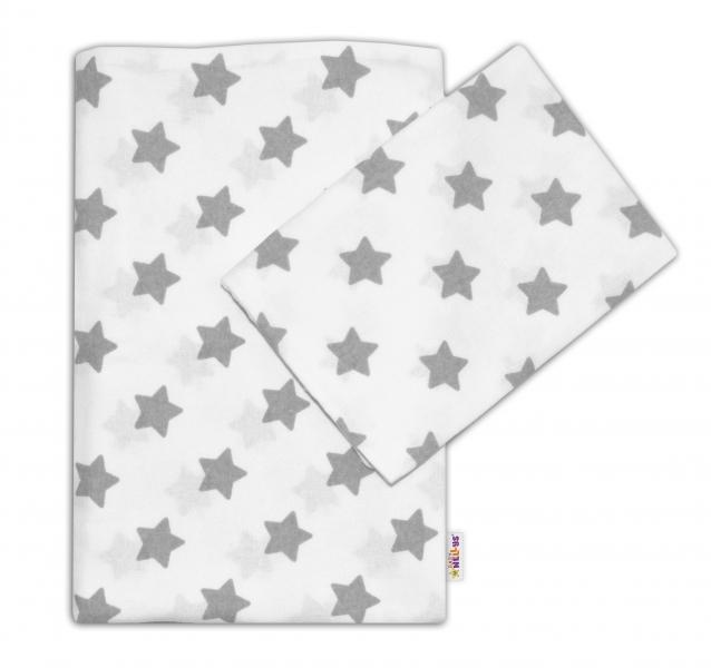Flanelové obliečky Baby Nellys ® - Hviezdy šedé v bielej