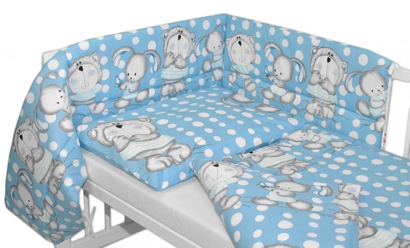 Mantinel s obliečkami MACKO s zajačikom BUBBLE Baby Nellys - modrý 120x90