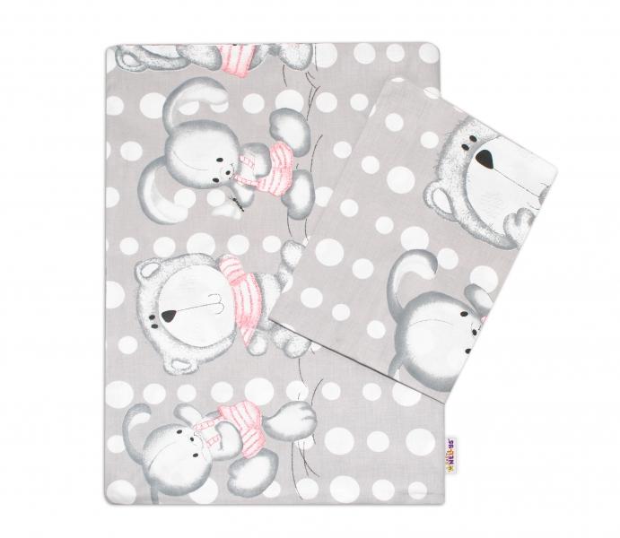 Bavlnené obliečky Macko s zajačikom Bubble Baby Nellys - sivé, 135 x 100