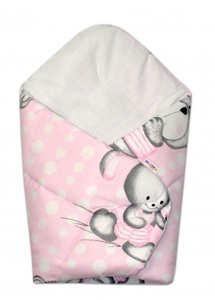 Novorodenecká zavinovačka Mevídek s zajačikom Bubble Baby Nellys - ružová