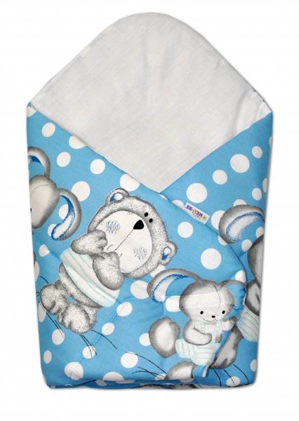 Novorodenecká zavinovačka Mevídek s zajačikom Bubble Baby Nellys - modrá