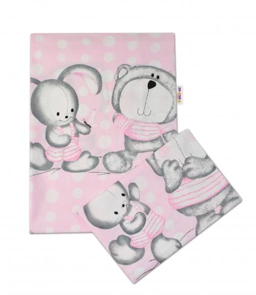 Bavlnené obliečky MACKO s zajačikom BUBBLE Baby Nellys - ružové