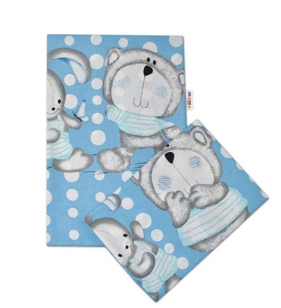 Bavlnené obliečky Macko s zajačikom Bubble Baby Nellys - modré
