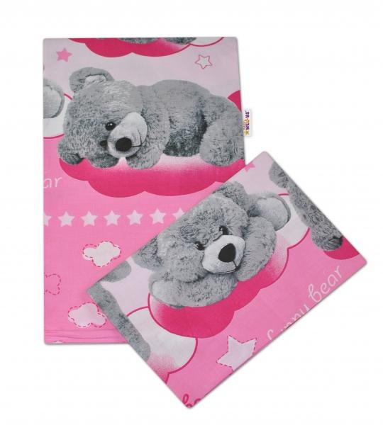 Bavlnené obliečky Macko hviezdička Baby Nellys -ružové