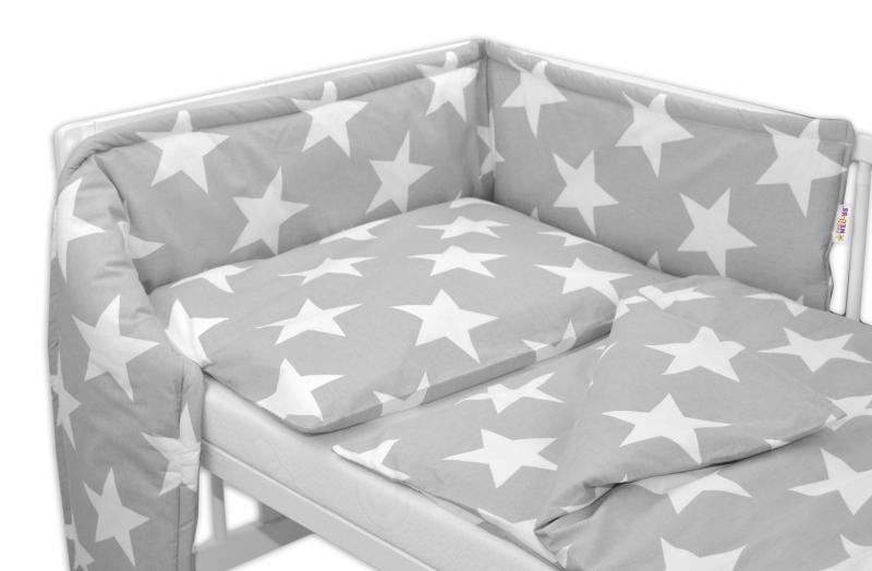 Mantinel s obliečkami - Veľké hviezdy - sivé