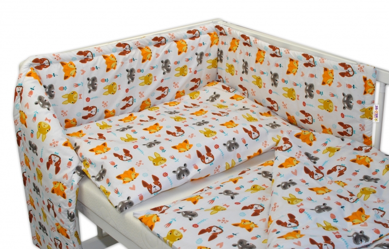Baby Nellys Mantinel s obliečkami 135x100 - Forest - biele
