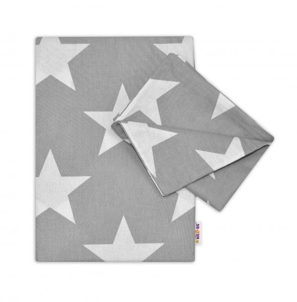 Baby Nellys Bavlnené obliečky 120x90 - Big Stars - šedé