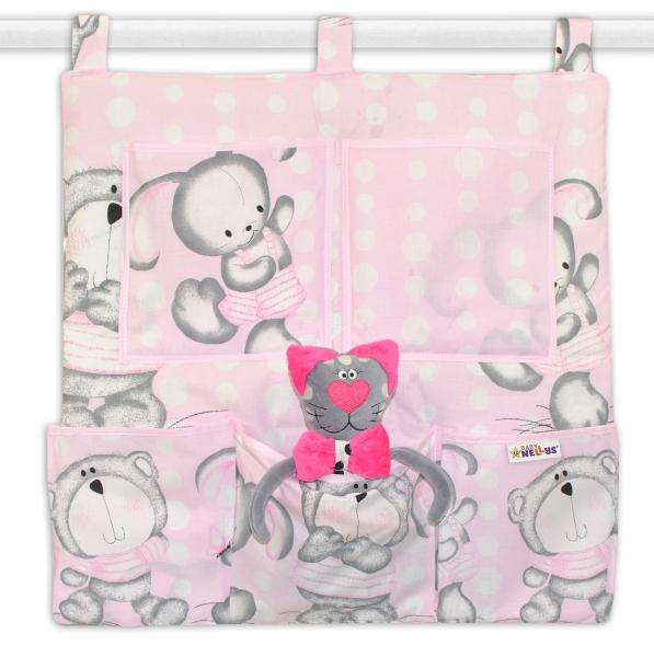 Vreckár na postieľku MACKO s zajačikom BUBBLE Baby Nellys - ružový