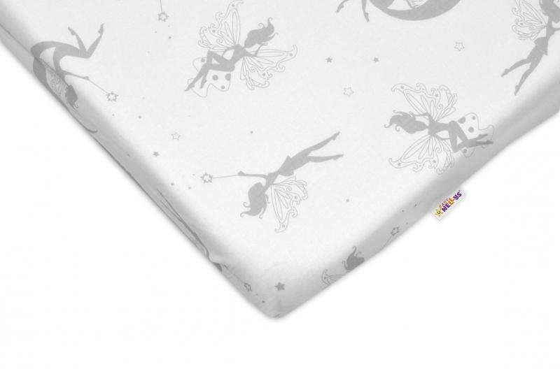 Bavlnené prestieradlo Baby Nellys ® - Víly sivé-120x60
