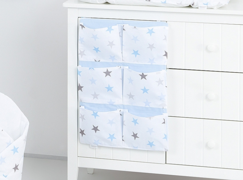 Mamo Tato Vreckár 40 x 65 cm. Hviezdičky modre a sivé