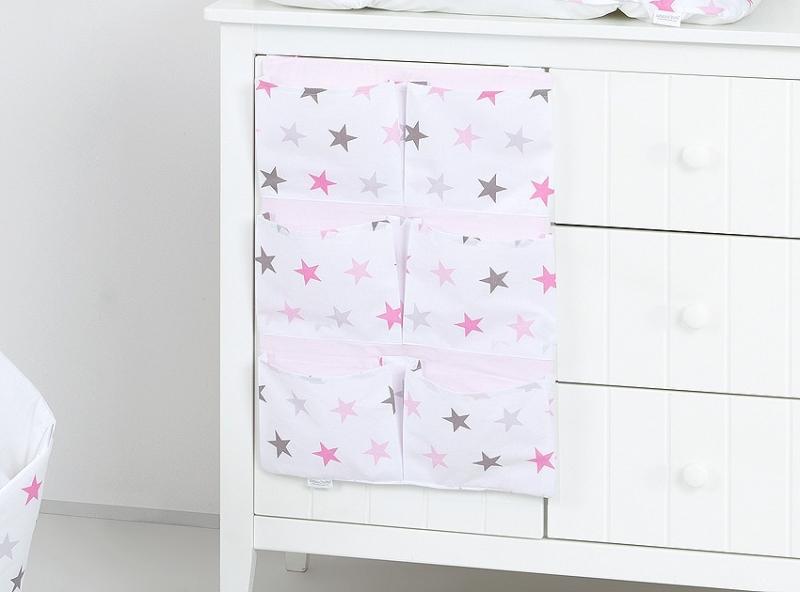 Mamo Tato Vreckár 40 x 65 cm. Hviezdičky ružové a sivé