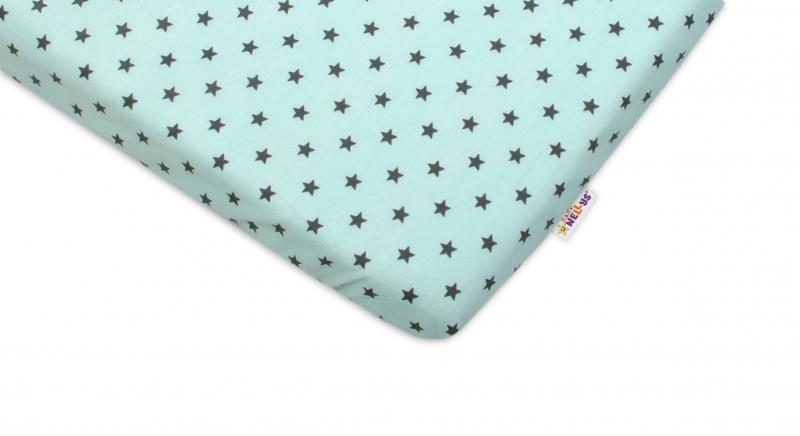 Bavlnené prestieradlo Baby Nellys ® - Mini hvezdičky tyrkysové-120x60