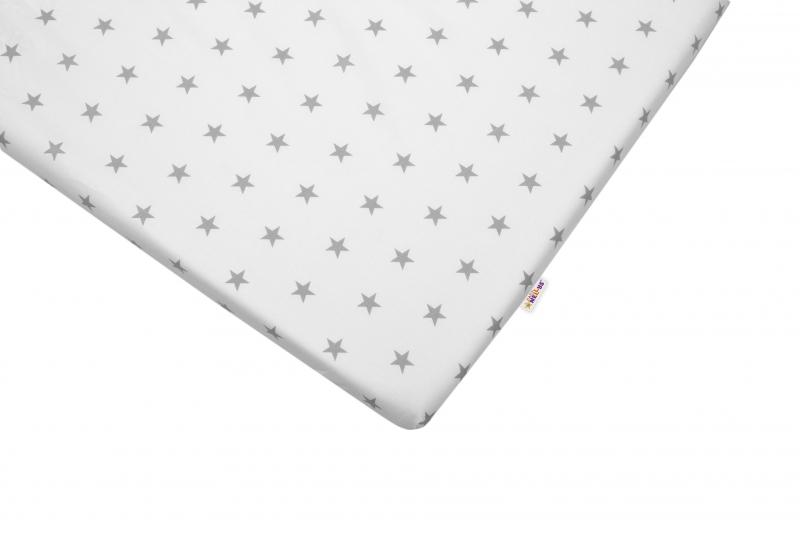 Bavlnené prestieradlo Baby Nellys ® - Hvezdičky sivé-120x60
