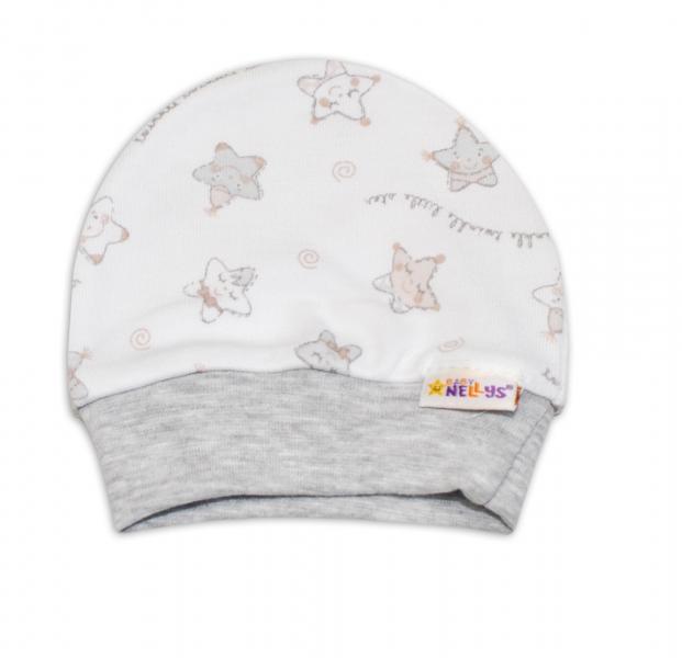 Čiapočka pre predčasne narodené bábätká Baby Nellys ®- Hvezdičky sivé