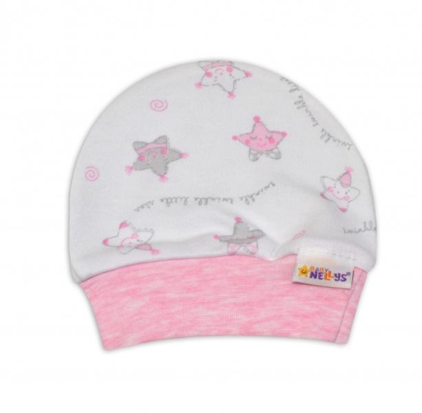 Čiapočka pre predčasne narodené bábätká Baby Nellys ®- Hvezdičky ružové-50