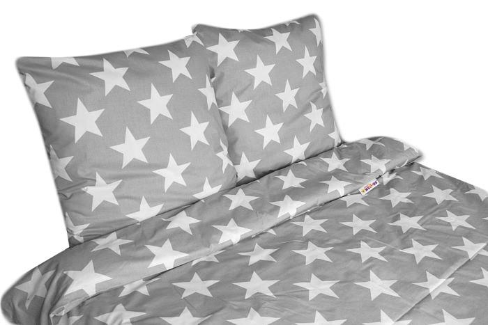Bavlnené obliečky 140 x 200/70 x 90 - Veľké hviezdy - šedé