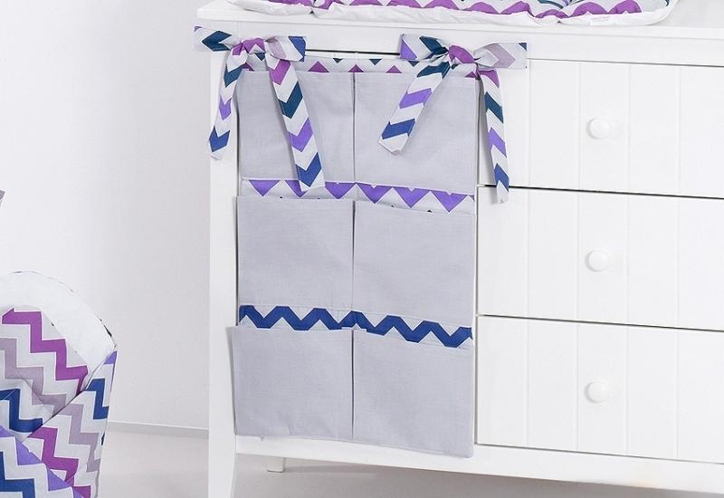 Mamo Tato Vreckár 40 x 65 cm - Zigzag fialový/sivá