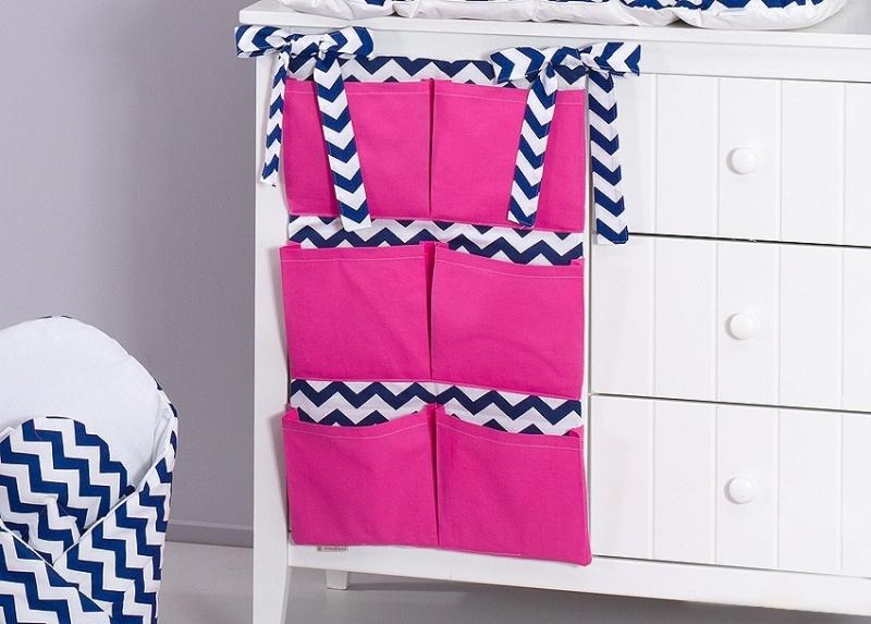Mamo Tato Vreckár 40 x 65 cm - Zigzag tm. modrý/tm. ružová