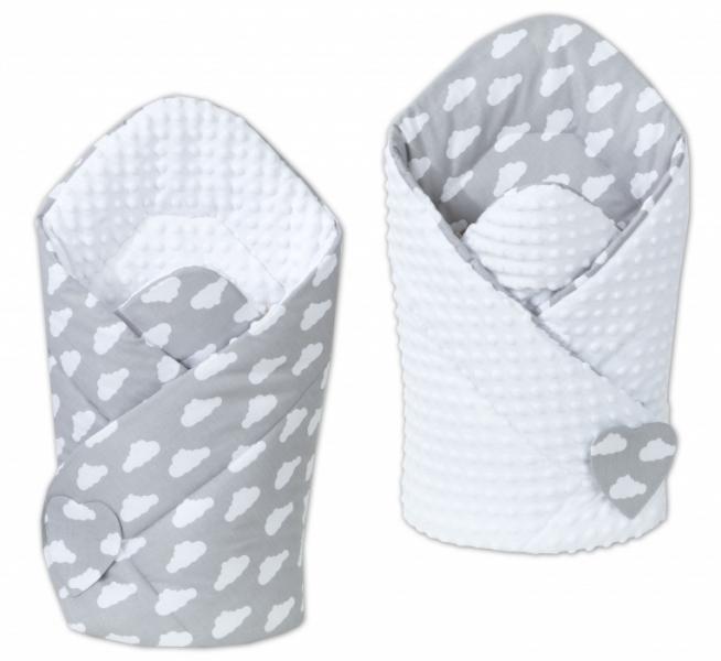 Mamo Tato Obojstranná zavinovačka Minky Baby - Mráčky biele na šedom/biela