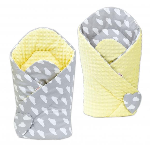 Baby Nellys Obojstranná zavinovačka Minky Baby - Mráčky biele na šedom/žltá