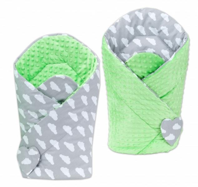 Mamo Tato Obojstranná zavinovačka Minky Baby - Mráčky biele na šedom /zelená
