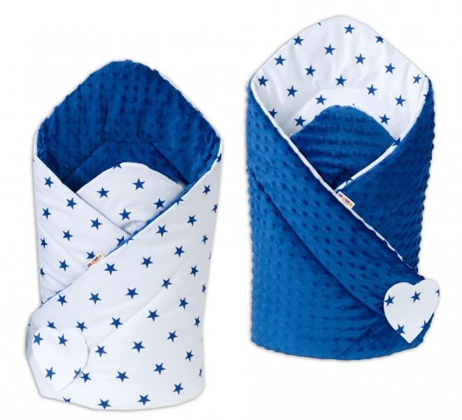 Obojstranná zavinovačka Minky Baby - Tm. modré hvezdičky na bielej/ tm. modrá