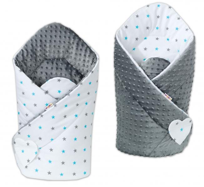 Obojstranná zavinovačka Minky Baby - Hvezdičky modré a sivé/sivá
