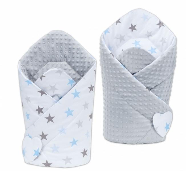 Mamo Tato Obojstranná zavinovačka Minky Baby - Hvezdy modré a sivé/ sv. sivá
