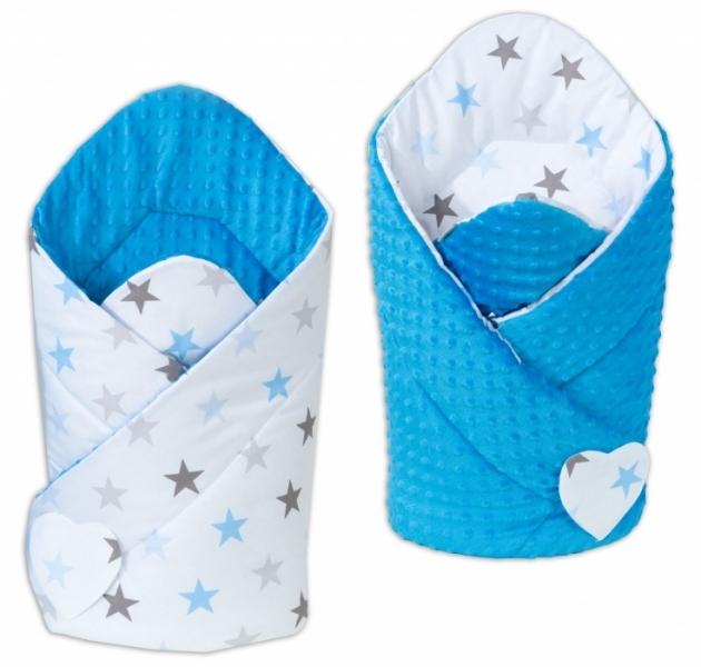 Mamo Tato Obojstranná zavinovačka Minky Baby - Hvezdy modré a sivé/ modrá