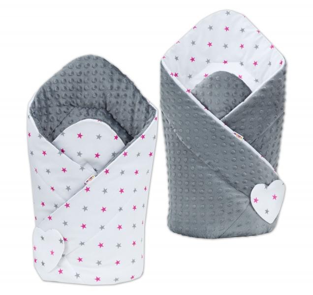 Obojstranná zavinovačka Minky Baby - Hvezdičky ružové a sivé/ tm. sivé