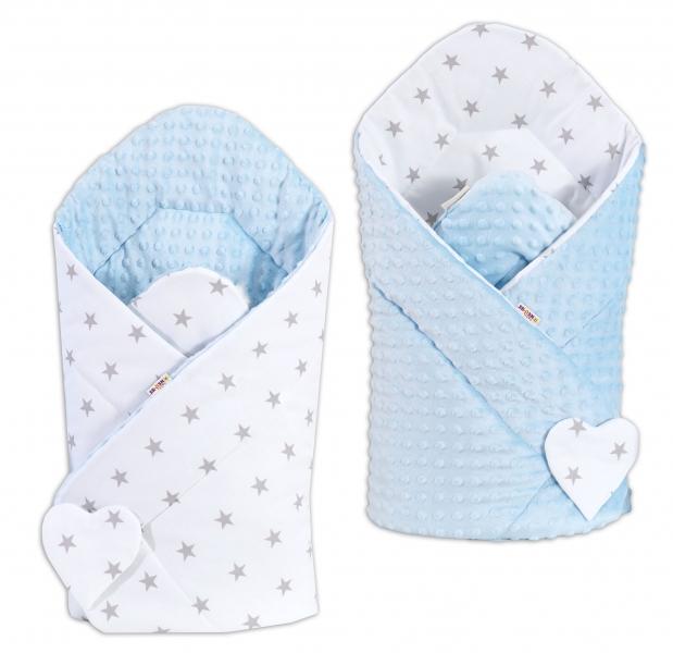 Obojstranná zavinovačka Minky BABY - Hvezdičky sivé na bielom/ sv. modrá