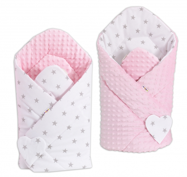 Obojstranná zavinovačka Minky BABY - Hvezdičky sivé na bielom/ ružová