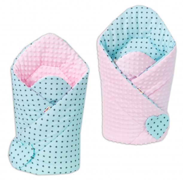Obojstranná zavinovačka Minky BABY - Mini hvezdičky tyrkysové/ ružová