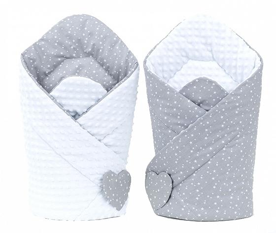 Mamo Tato Obojstranná zavinovačka Minky Baby - Mini hvezdičky biele na sivom/ biela