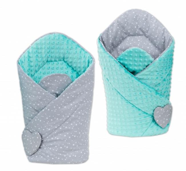 Mamo Tato Obojstranná zavinovačka Minky Baby - Mini hviezdičky biele na šedom / mätová