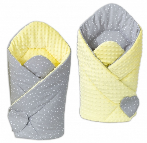 Mamo Tato Obojstranná zavinovačka Minky Baby - Mini hviezdičky biele na šedom/žltá