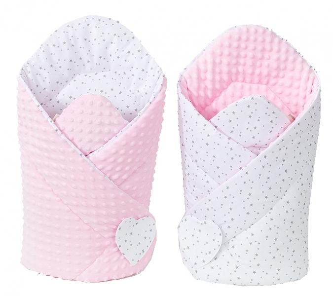 Mamo Tato Obojstranná zavinovačka Minky Baby - Mini hviezdičky sive na bielom/ružová