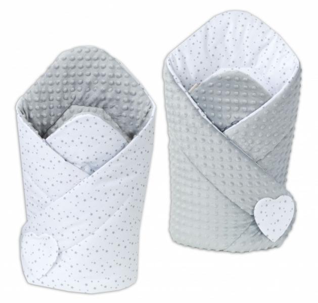 Mamo Tato Obojstranná zavinovačka Minky Baby - Mini hviezdičky sive na bielom / sivá