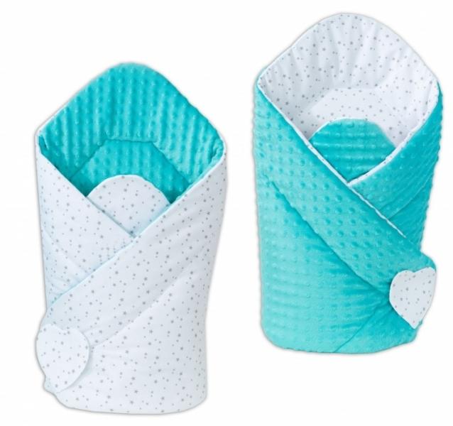 Mamo Tato Obojstranná zavinovačka Minky Baby - Mini hviezdičky sive na bielom / tyrkysová