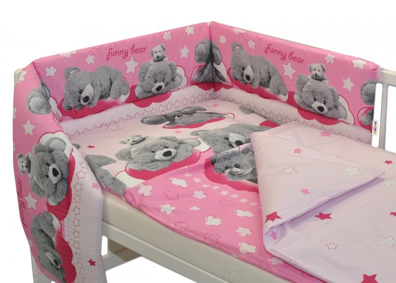 Mantinel s obliečkami Macko hviezdička Baby Nellys - ružový