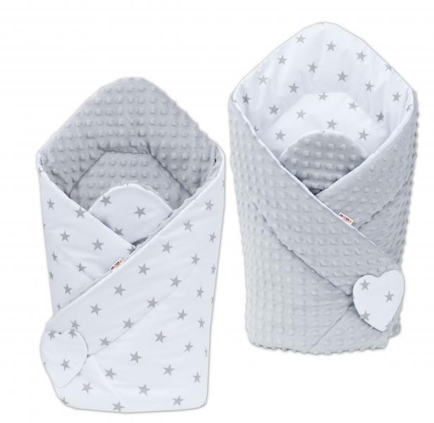 Obojstranná zavinovačka Minky BABY - Hvezdičky sivé nia bielom/ sivá