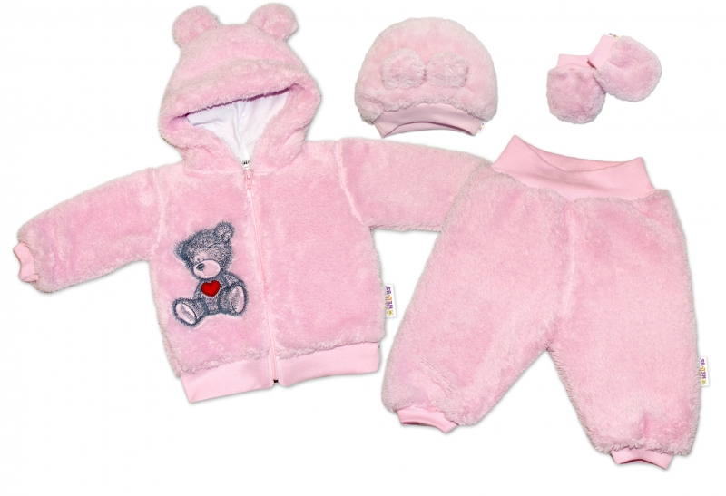 Baby Nellys Chlupáčkový komplet welsoft Teddy - růžový-#Velikost koj. oblečení;56 (1-2m)