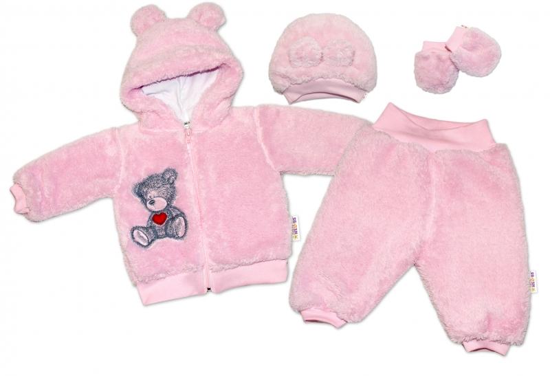 Baby Nellys Chlupáčkový komplet Welsoft Teddy vel. 80 - růžový