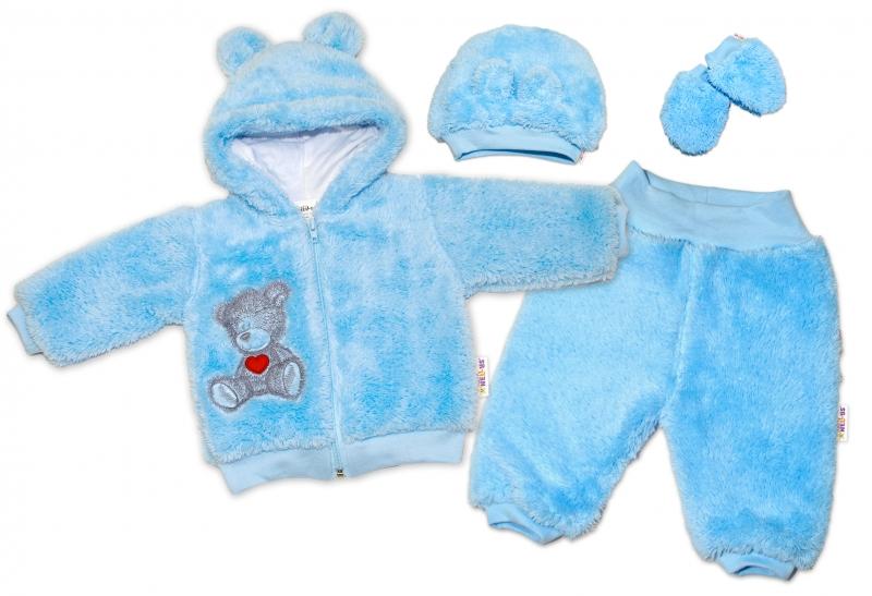 Baby Nellys Chlupáčkový komplet Welsoft Teddy - modrý-#Velikost koj. oblečení;56 (1-2m)